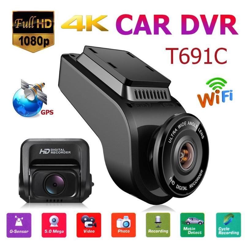 T691C 2in 4K 2160 P/1080 P FHD cámara de salpicadero 170 grados lente coche DVR Cámara conducción automática con ranura para tarjeta TF micrófono Dashcam