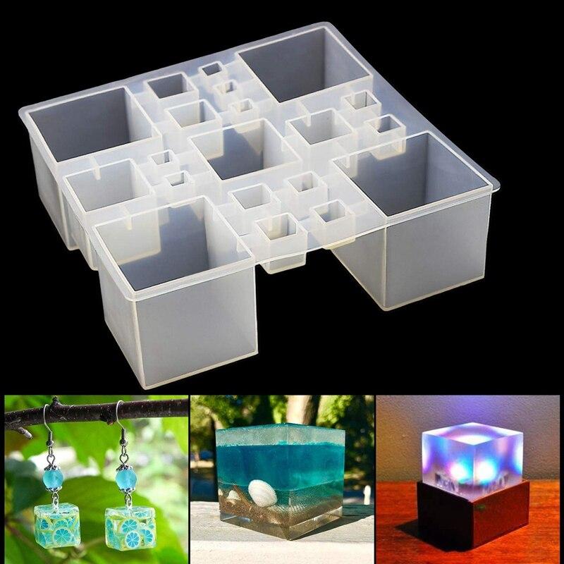 Moldes quadrados do cubo da resina do molde do silicone da resina, moldes do silicone para moldes da cola epoxy da resina para o espécime mágico do paperweight do cubo da joia