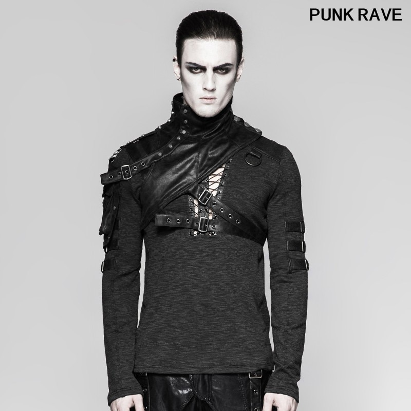 High Collar Cape with Pocket fashion Black Military Shoulder Armor Wraps Steampunk Leather Men Clothes Accessory PUNK RAVE S-207