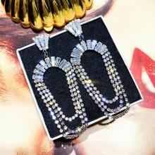 FYUAN-boucles doreilles longues pour femmes, Bijoux en cristal, pampilles, strass, or Rose, pendentif, Bijoux, déclaration, cadeaux, 2019