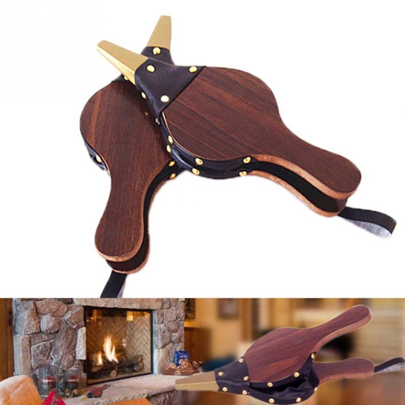 Ventilador de chimenea de color marrón oscuro Vintage de cinim, ventilador de encendedor de fuego tradicional para el hogar