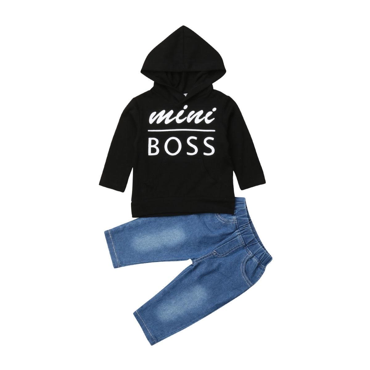 ميني بوس طفل طفل الفتيان الملابس مجموعة الأطفال ملابس سوداء طويلة الأكمام مقنعين T قميص قمم + الدنيم السراويل وتتسابق