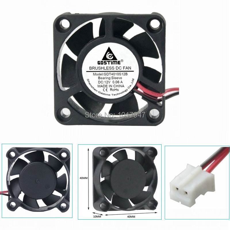 200pcs lot serviceable gdt 2pin 40mm 4010 axial fan 40mmx 40mm x 10mm dc cooling heatsink 10 Pieces LOT Gdstime DC 12V 2Pin 4cm 40x40x10mm 40mm 4010 Small Brushless Cooling Cooler Fan