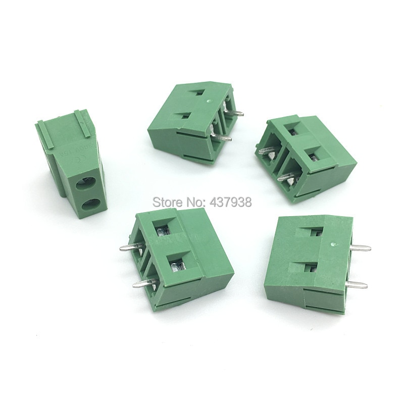 100 قطعة KF128-7.5-2P المسمار 2Pin 7.5 مللي متر مستقيم دبوس PCB برغي محطة كتلة موصل 300V/10A الأخضر اللون