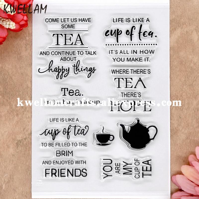 Sello de goma transparente para tarjetas de fotos de manualidades de TEA FRIENDS happy thins HOPE Scrapbook 11x16cm 8072607