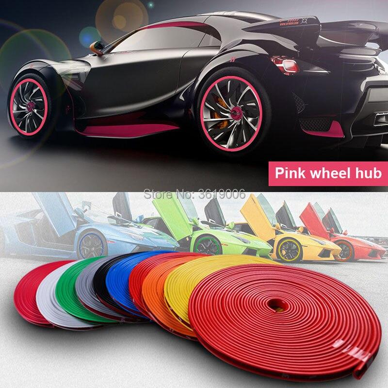 8 m cubo de carro rosa guarnição decoração tira anti-colisão roda aro protetor anel roda borda do pneu trocador guarda adesivos