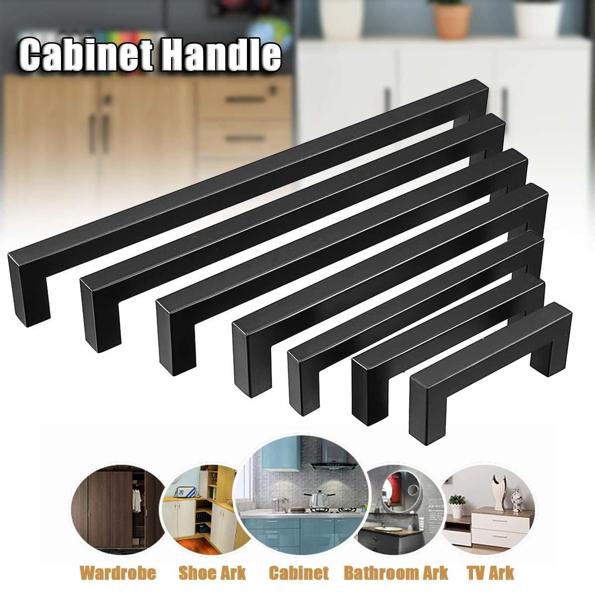 Armario cuadrado de acero inoxidable negro de 3-15 pulgadas, tiradores para armario de baño, tiradores para puerta, tiradores para muebles, armarios de cocina