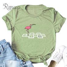 Romacci femmes grande taille T-shirt dessin animé Animal oiseau flamant chiffres imprimer camiseta feminista col rond manches courtes T-shirt drôle