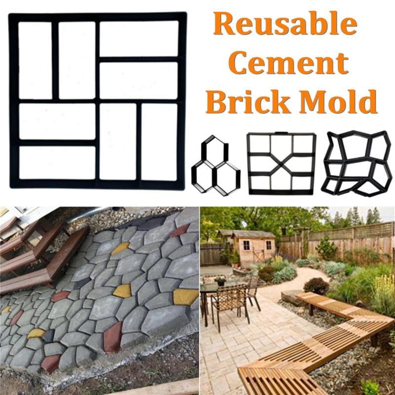 Jardín de plástico molde para construir pavimentos manualmente pavimentación patio Camino de piedras molde de ladrillo de cemento jardín edificios pavimentadora caminar molde