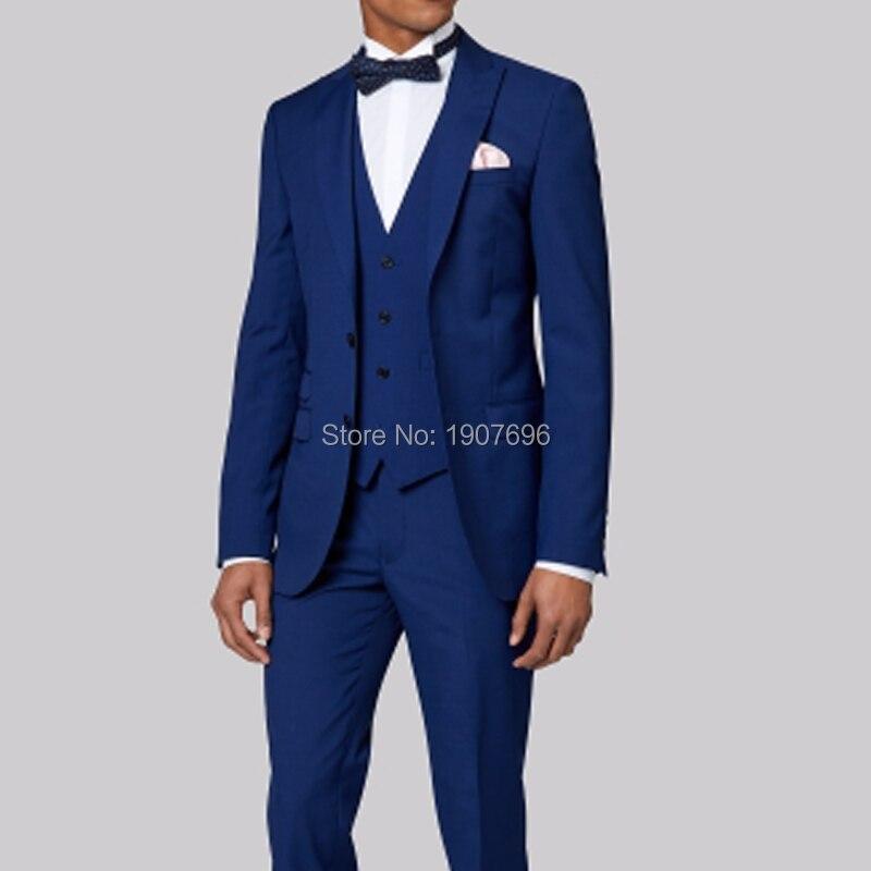 Смокинги для жениха на свадьбу, мужские костюмы Королевского синего цвета, модные костюмы из 3 предметов, мужские костюмы, пиджак с брюками, жилет