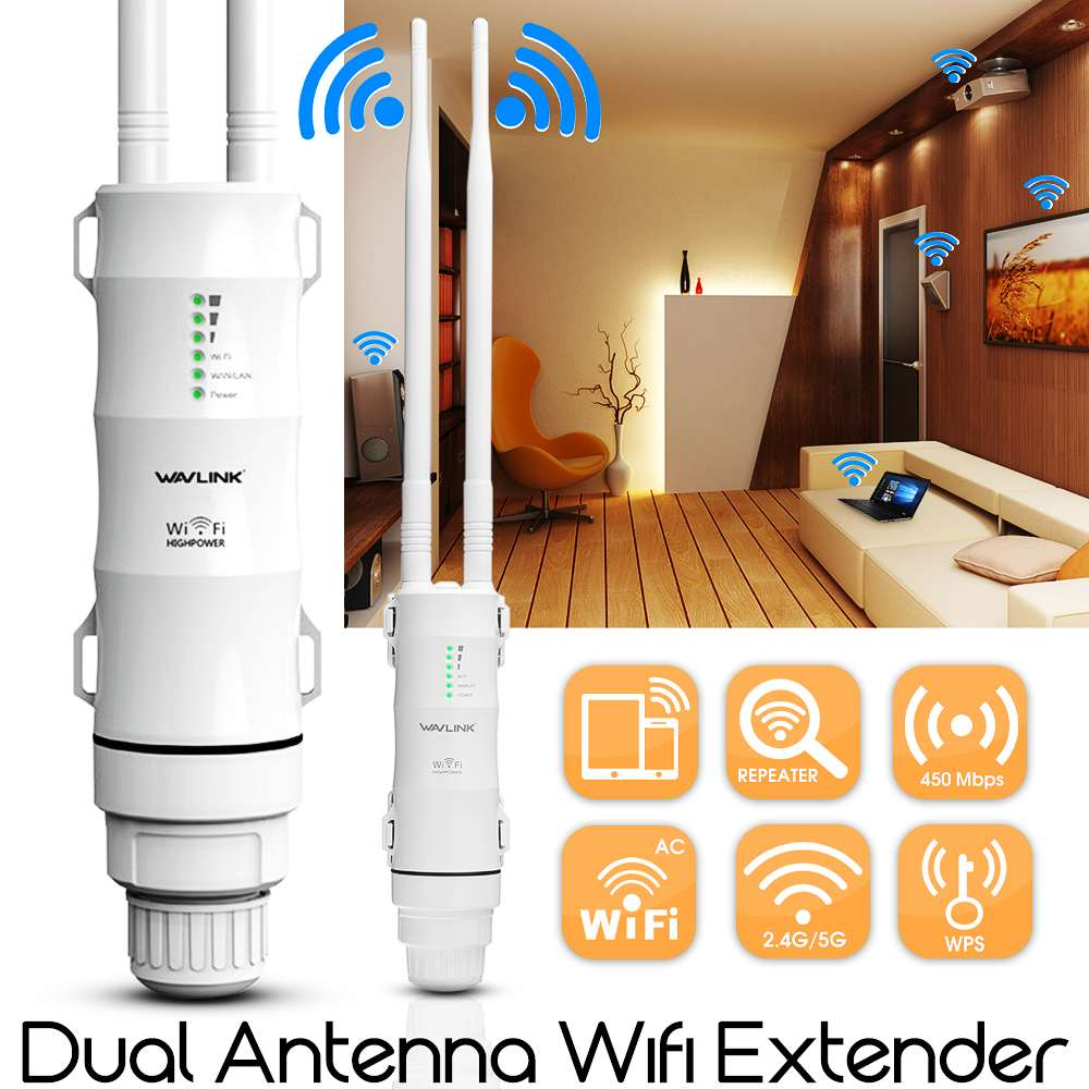 Wavlink AC600 27dBm Wifi extensor de alta potencia al aire libre Wifi repetidor 2,4G/150 Mbps + 5 GHz/433 Mbps Router Wifi inalámbrico con WISP