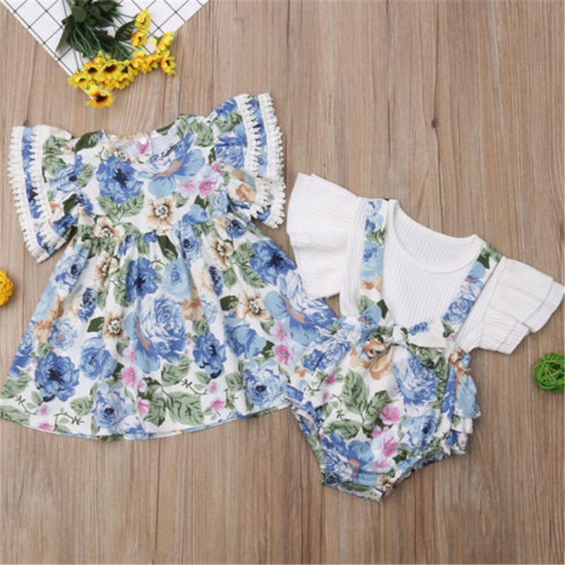 Bebê recém-nascido Meninas Irmã Família Matching Floral Ruffles Vestido de Renda Alargamento Da Luva T-shirt Tops Calças Jardineiras Arco Calcinhas Outfits Set