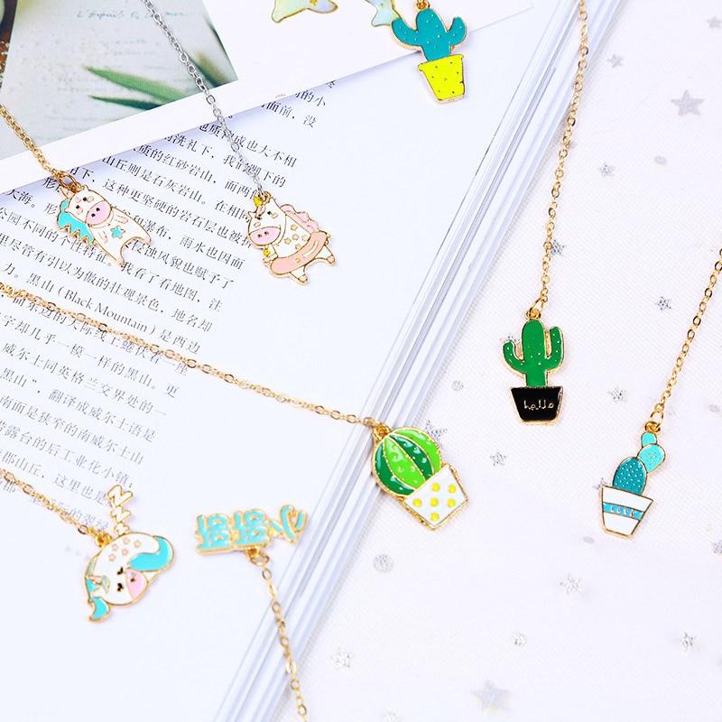 Lindo marcapáginas de unicornio Kawaii Cactus de papel de aluminio dorado colgantes de Metal marca de libro para niñas regalo Oficina escuela suministros papelería coreana