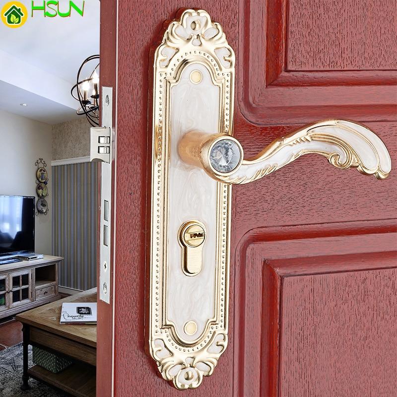 European amber white handle  bedroom door lock mechanical  integrated molding indoor  wooden door lock