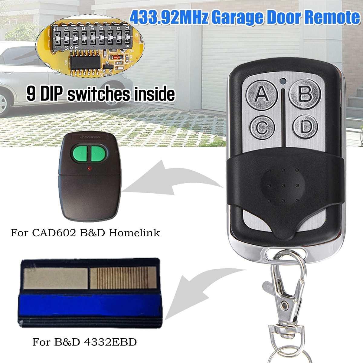 12 v 433.92 mhz Controle Remoto Da Porta Da Garagem 9 Interruptor DIP Para O B & D Acento CAD603 062171/4332EBD