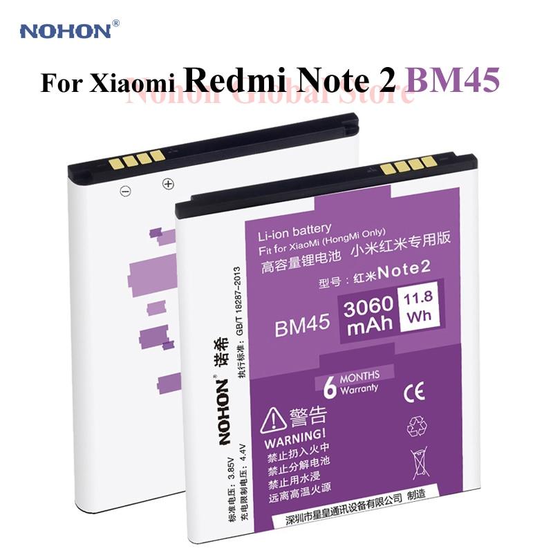 100% Original NOHON la batería de Li-Ion 3060 mAh BM45 para Xiaomi RedMi nota 2 Hongmi arroz rojo Note2 de reemplazo de capacidad Bateria