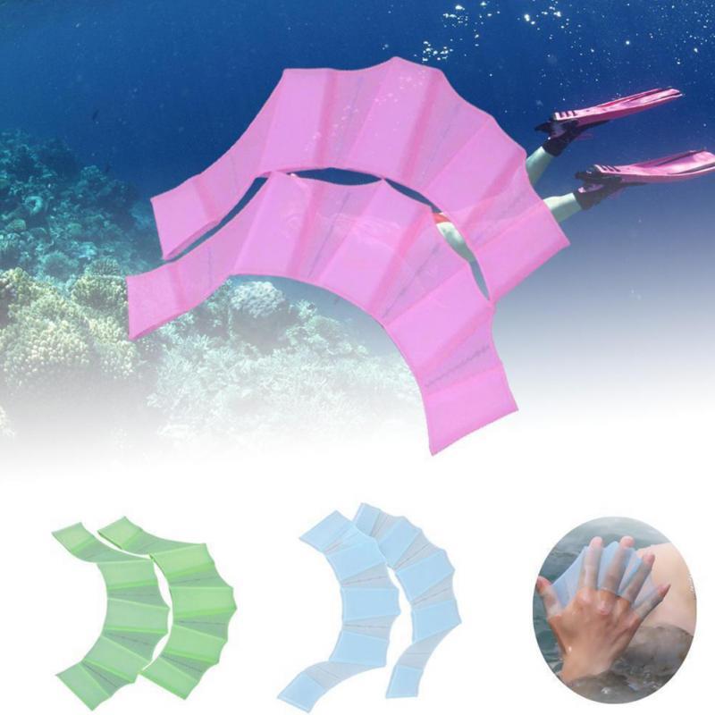 1 par de fajas de silicona Unisex de alta calidad para natación, aletas de mano, aletas, dedos, guantes de red, pádel, deportes acuáticos