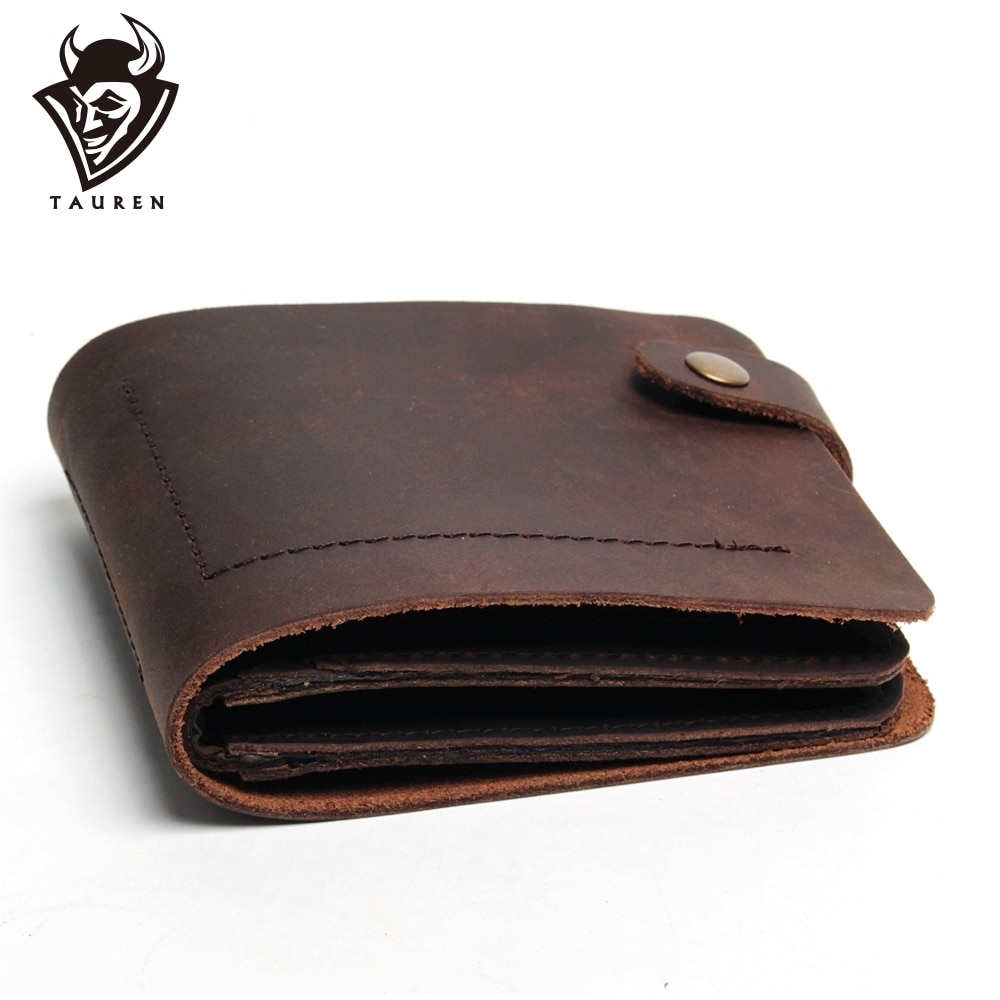 Handmade Vintage Crazy Horse Genuine Leather Wallets For Men Fashion Retro Style Clutch Bag Wallet Male Purse