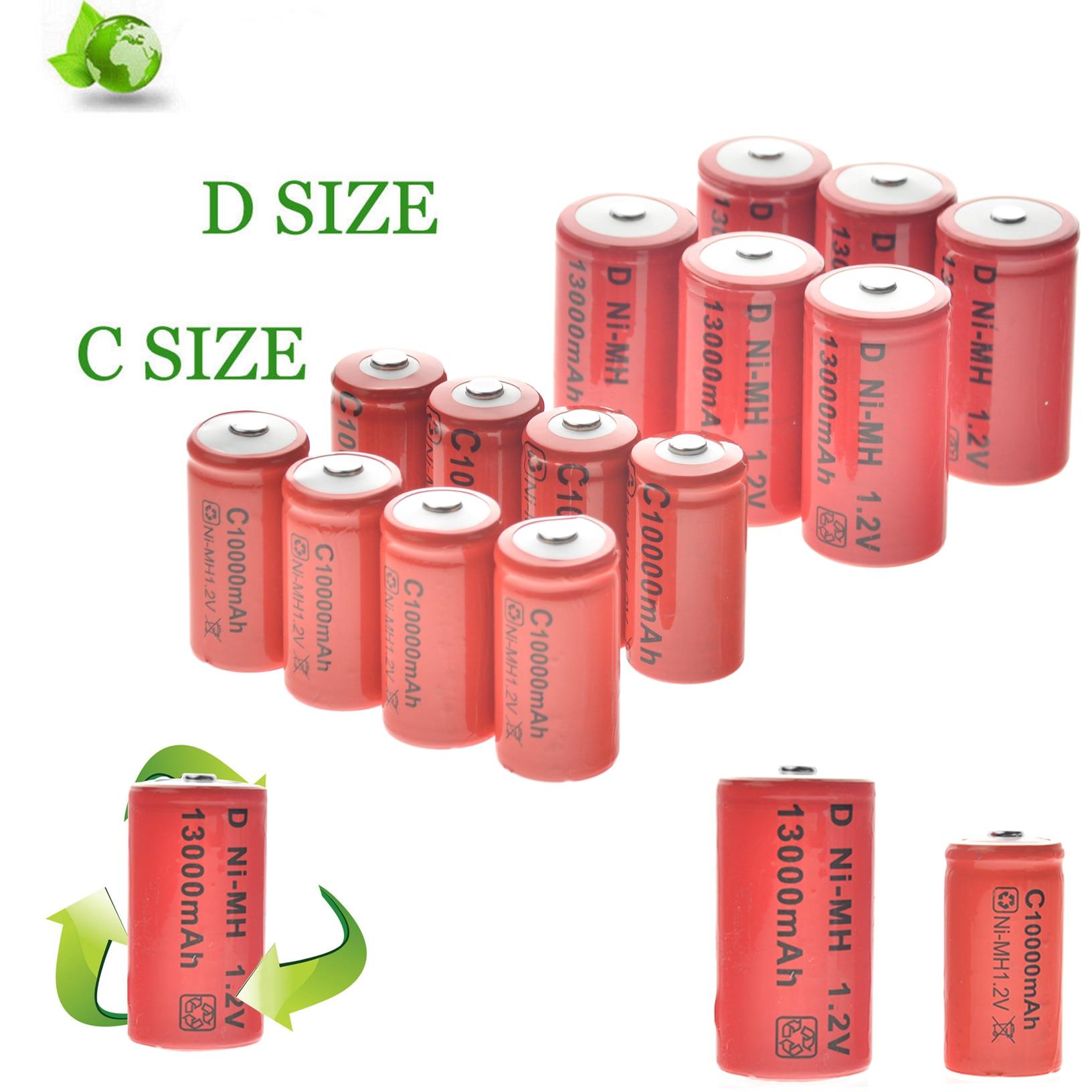 4/8/12 Uds C tamaño 10000 mAh + 4/8/12 Uds Dsize 13000 mAh baterías recargables 1,2 v NI-MH EBL tamaño NI-MH C/D recargable
