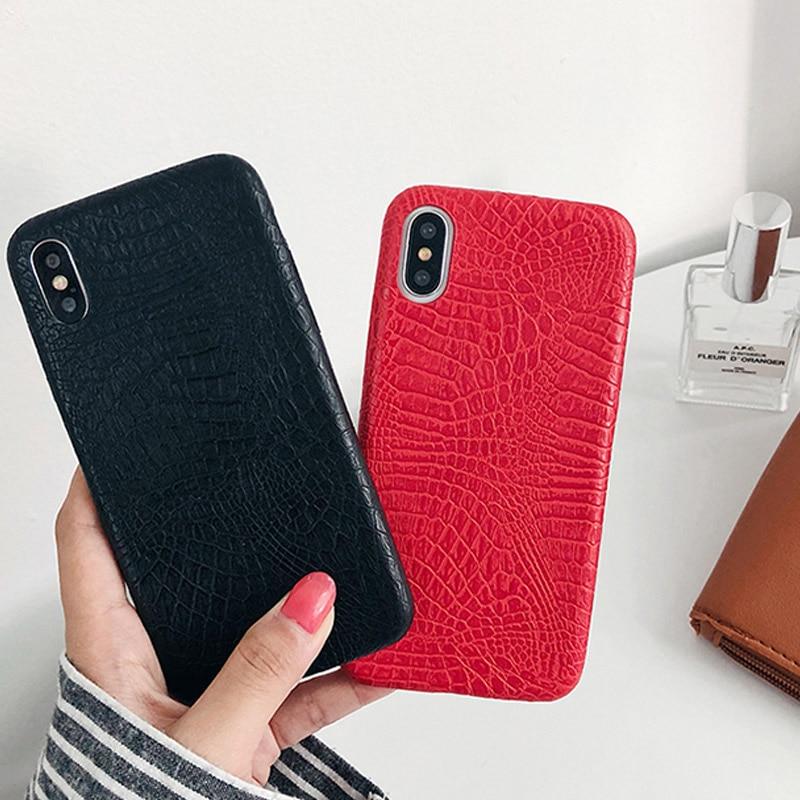 Funda de textura de cocodrilo de PU Ottwn para iPhone 6 7 8 Plus X XR XS Max, fundas de cuero Ultra finas para iPhone 11 6S Plus, funda trasera suave