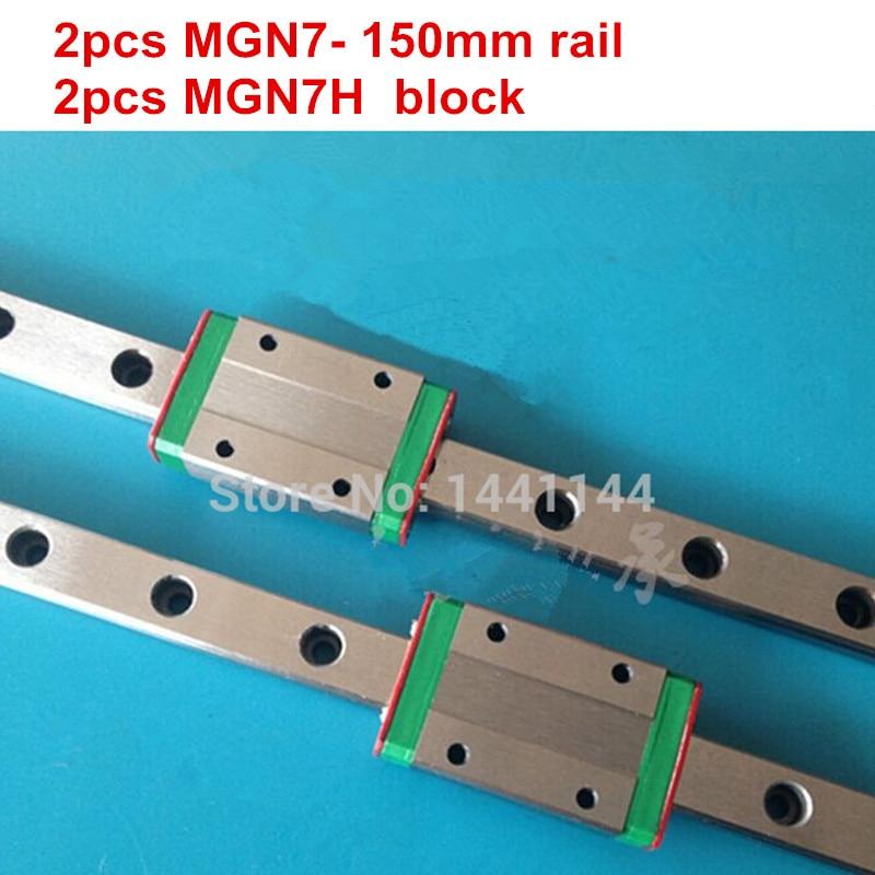 Carril lineal en miniatura MGN7 2 piezas de carril MGN7-150mm + 2 piezas de carro MGN7H para piezas de impresora 3d de ejes X Y Z