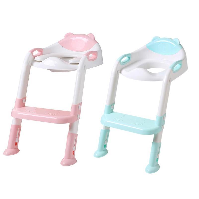 Orinal plegable para bebé, asiento de entrenamiento para niños, con escalera ajustable, respaldo cómodo, tetera linda de dibujos animados