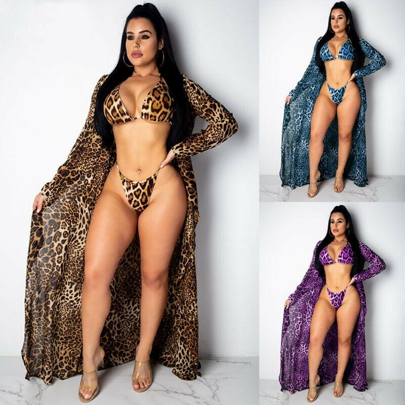 Sexy 3Pcs  Cover Up Leopard Print Beach Women Bikini Cover-ups Beachwear Female Swimsuit Cover Up Dress Swimwear Beach Tunic