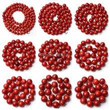 Haute qualité rouge herbe corail pierre Bracelet collier bijoux perles en vrac 15 pouces 4/6/8/10/12/14/16/18/20mm wj193