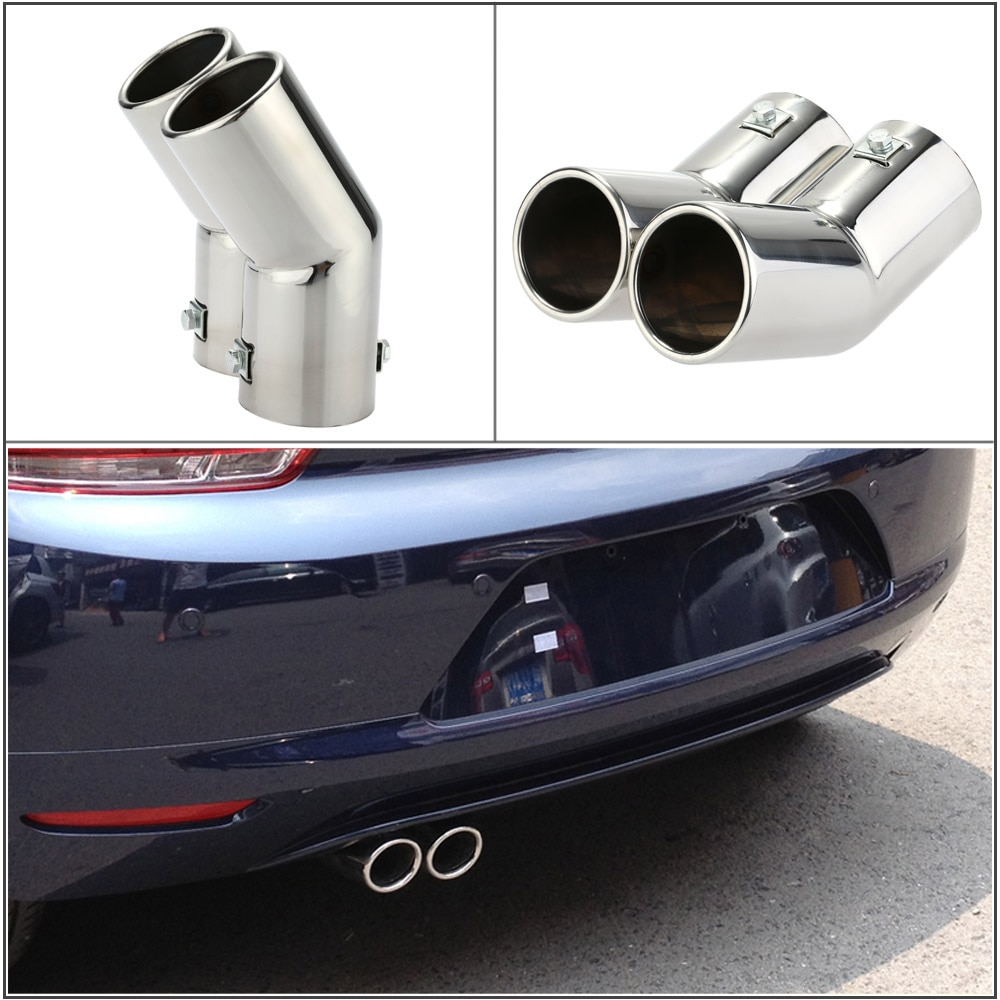 Tubo de extremo de silenciador trasero cromado de acero inoxidable Universal para coche KKMOON o VW Golf 4 Bora