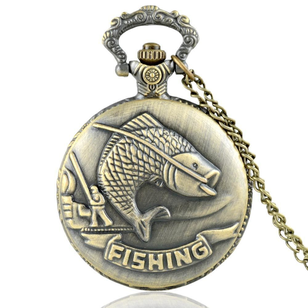 IBEINA, temática de pesca, cazador completo, cadena con grabado de cuarzo, colgante Retro, reloj de bolsillo, cadena de regalo