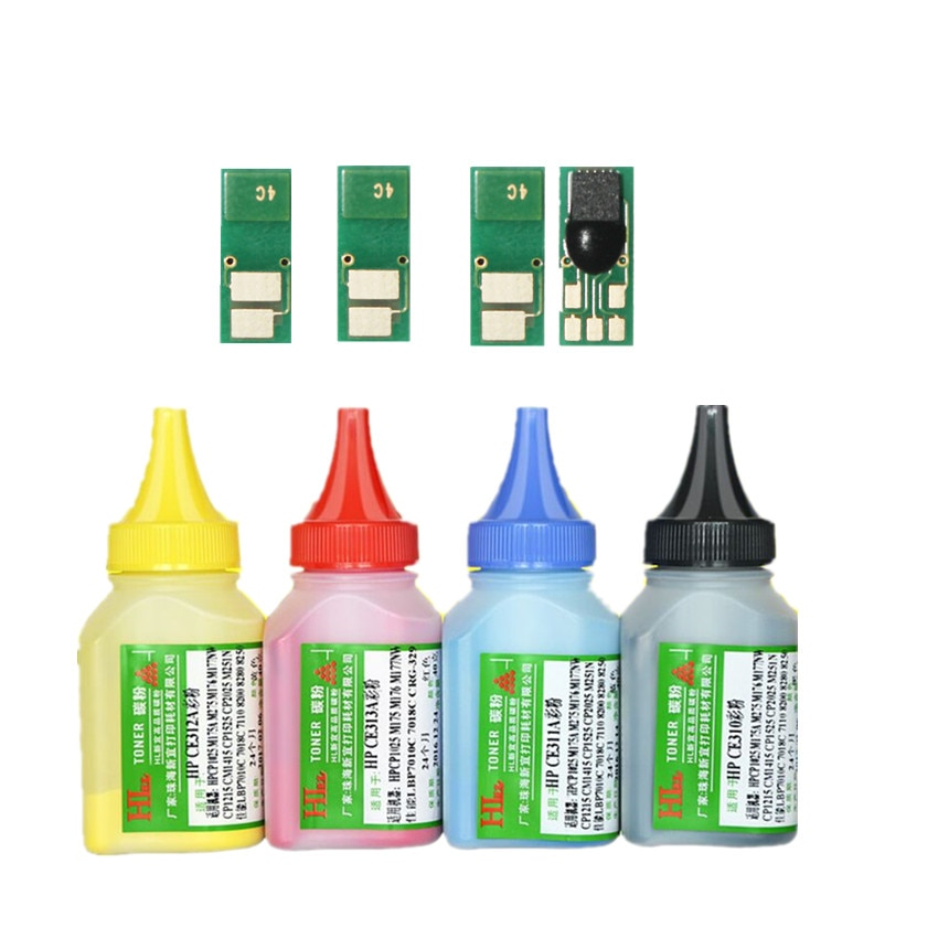 Polvo de tóner de Color + 4 chips CF400A 201A CF400 cartucho de tóner para HP Color LaserJet Pro m252ding M252n MFP M277dw M277n M274n