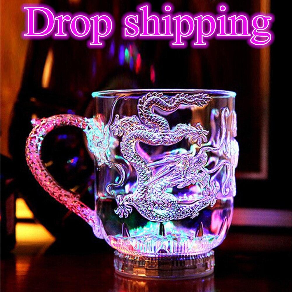 Креативный дизайн, светодиодная мигающая чашка с изменением цвета, активисветильник водой, чашка с драконом, пивом, виски, кружка, винная чашка для бара, вечеринки, Прямая поставка