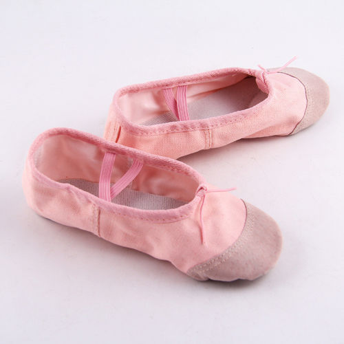 Tamaño 22-30 niñas pequeñas Rosa negro Ballet danza gimnasia yoga zapatos Split-Sole algodón niños zapatos Cute zapatilla suave