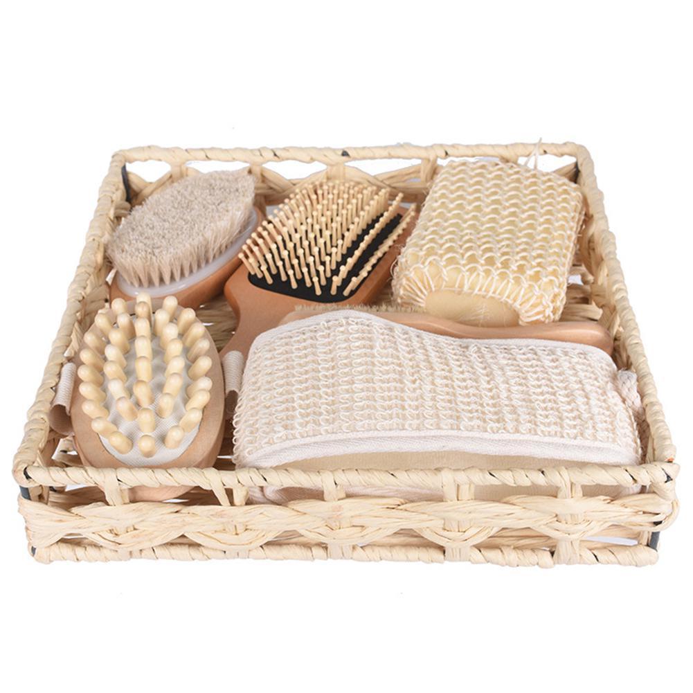 AsyPets 7 unids/set Spa de baño peine de algodón Lino cepillo cesta para esponja Set