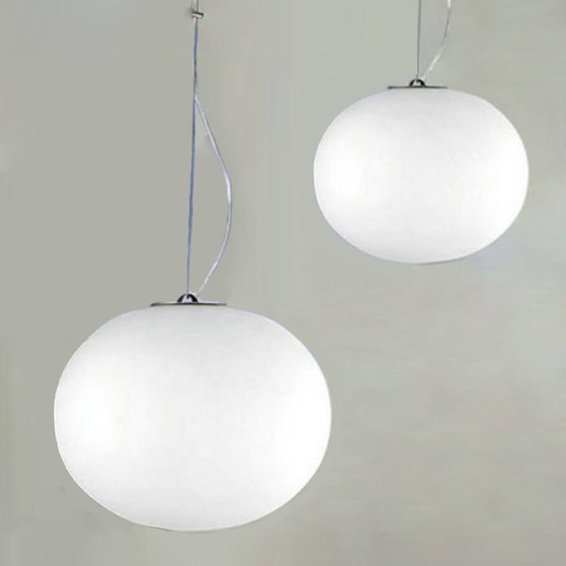 Luces colgantes minimalistas modernas lámparas colgantes de bola de vidrio blanco leche diámetro de la lámpara de restaurante/barra 18/24/33 /45 cm