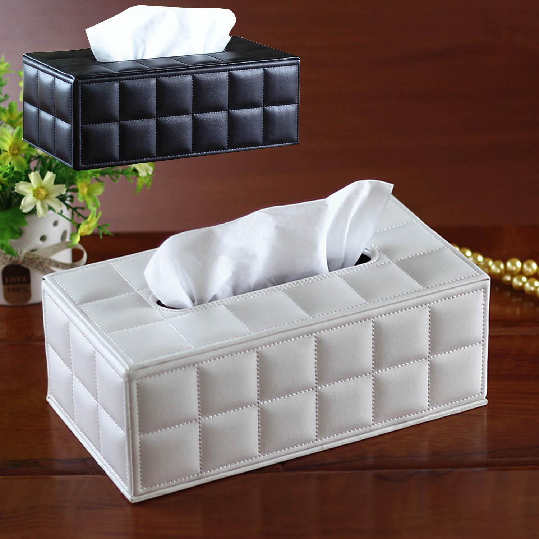 Behogar caja de pañuelos faciales, cubierta de piel sintética, contenedor rectangular para Hotel o coche, servilleta, servilleta, estuche protector de tejido, suministros para hogar y oficina