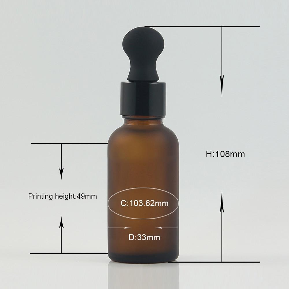 100 Uds. Por lote 1oz botella de vidrio de aceite esencial ámbar con tapón gotero de aluminio negro 30ml pipeta de vidrio