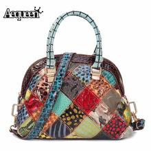 Luxury Designer Women Genuine Leather Hand Bags Bohemian Floral Crossbody Bags Vintage Patchwork She