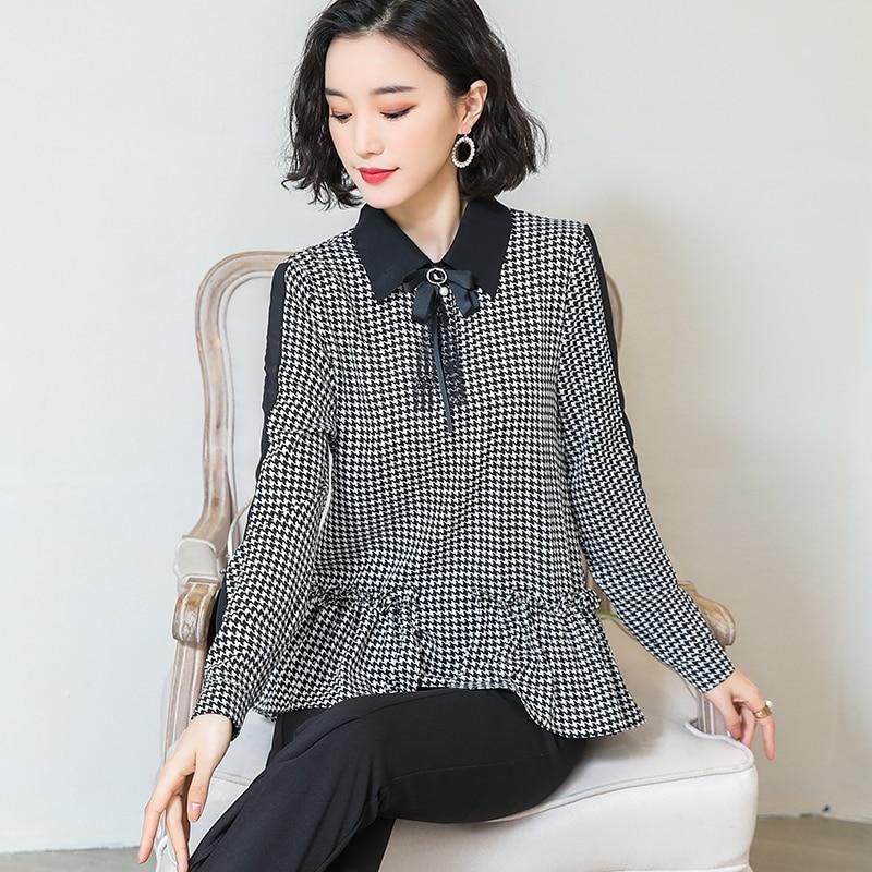 2019 nuevas camisas de mujer de Primavera de manga larga de gasa suelta de estilo occidental de la blusa de la camisa 606