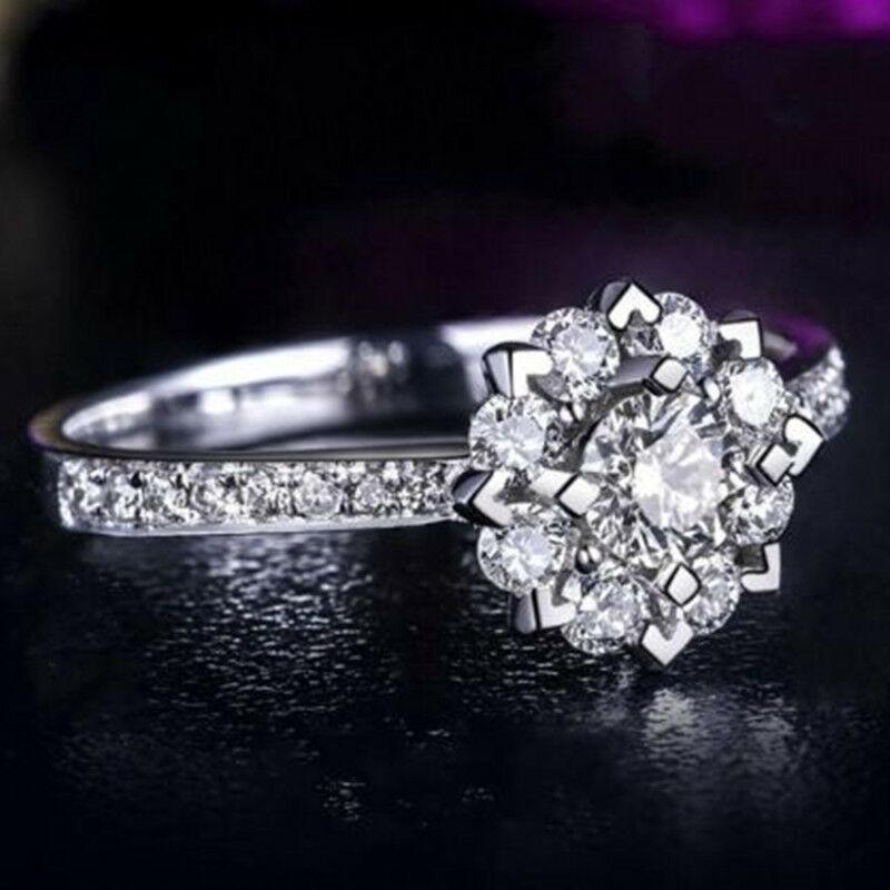 Bonito anillo en forma de copo de nieve 1ct Cz, anillo de compromiso, joyería para mujer, talla 4-9