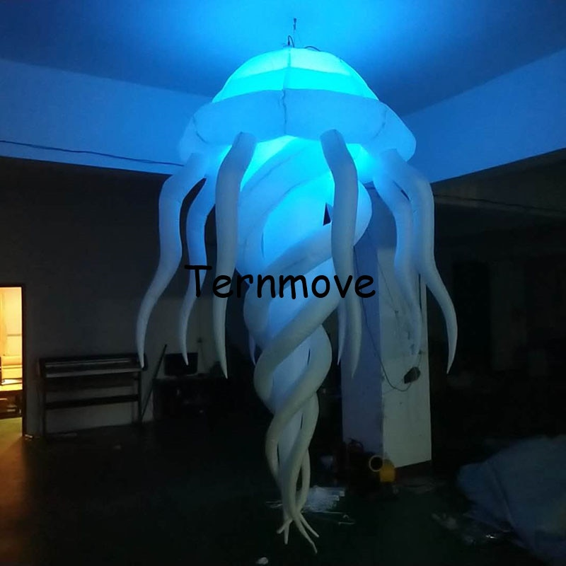 Medusas led inflables brillantes coloridas RGB gigantes para decoración de fiestas, pulpo inflable encantador multicolor con luz led
