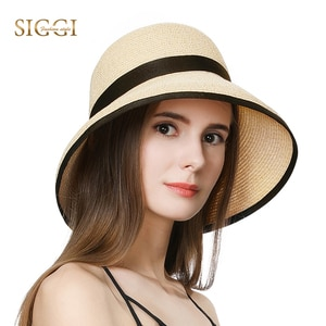 FANCET Summer Beach Womens Straw Hats Wide Brim Spring Adjustable Breathable Windproof Chin Cord Casual Sun Hats For Women 99009