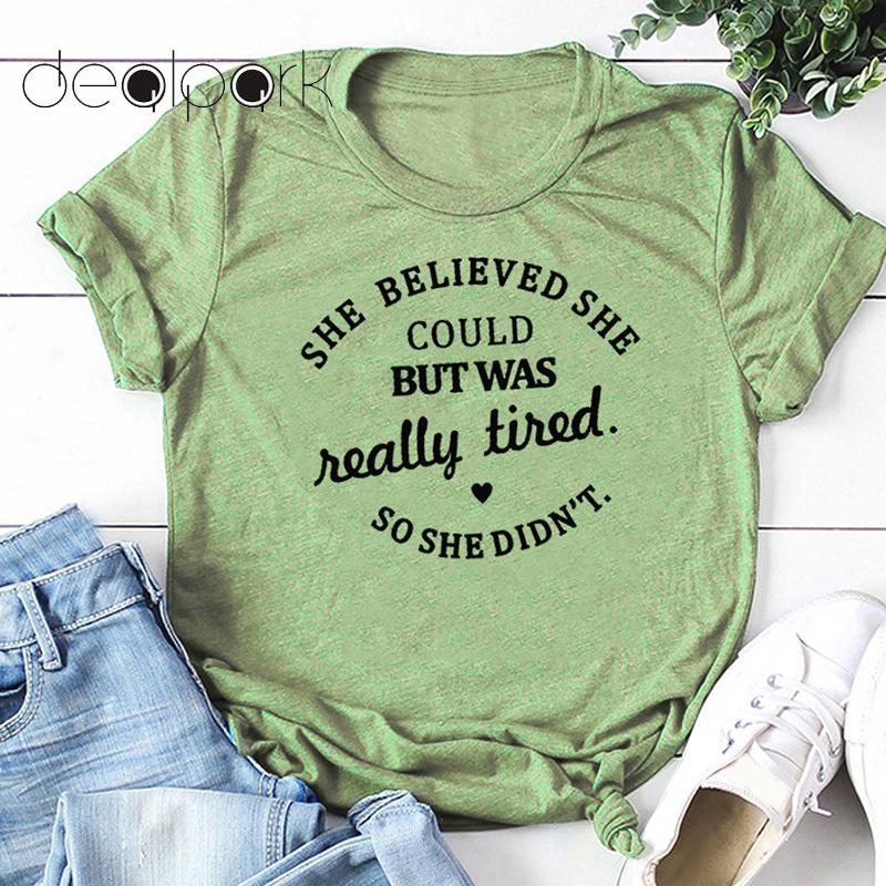 Забавная женская футболка, хлопковая футболка с коротким рукавом и принтом «She Believe She Could But Was This stird», большой размер 5XL