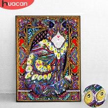 Huacan Speciale A Forma di Diamante Pittura Cat Animal Fai Da Te Diamante Ricamo Complementi Arredo Casa Parziale Rotonda Punta di Diamante Mosaico 40x50cm