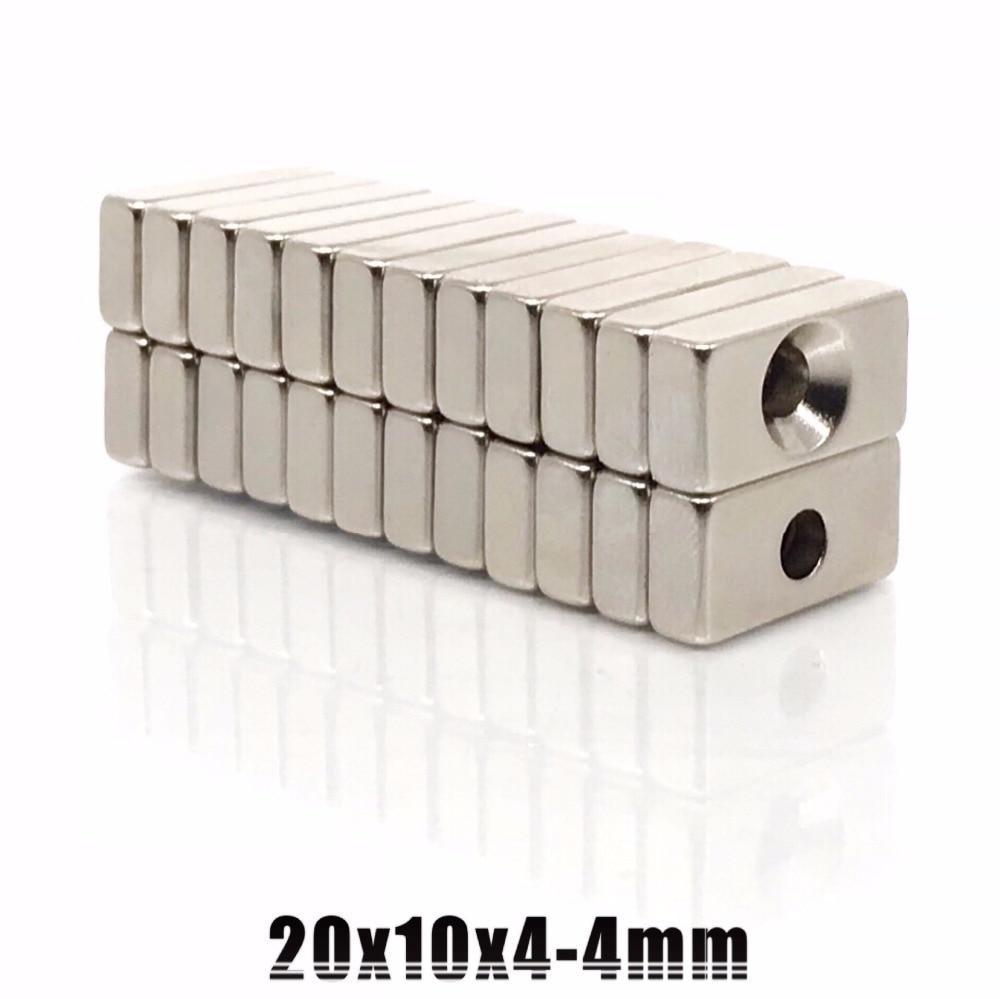 Envío gratis 10 unids/pack imán de 20x10x4mm con dia4mm agujero marca fuerte imán permanente 20*10*4mm agujero de 4mm