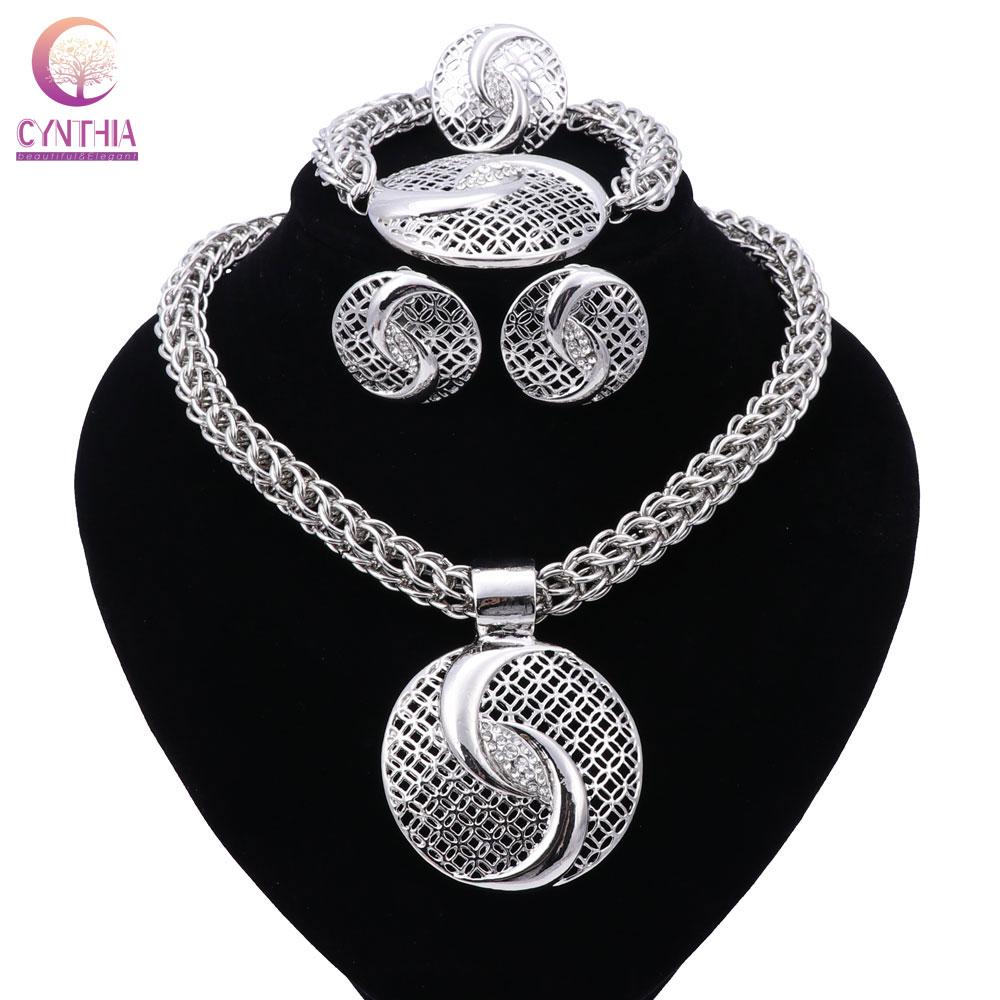 New Exquisite Dubai Jewelry Set Luxury Silver Plated Big Nigerian Wedding African Beads Jewelry Set Costume New Design