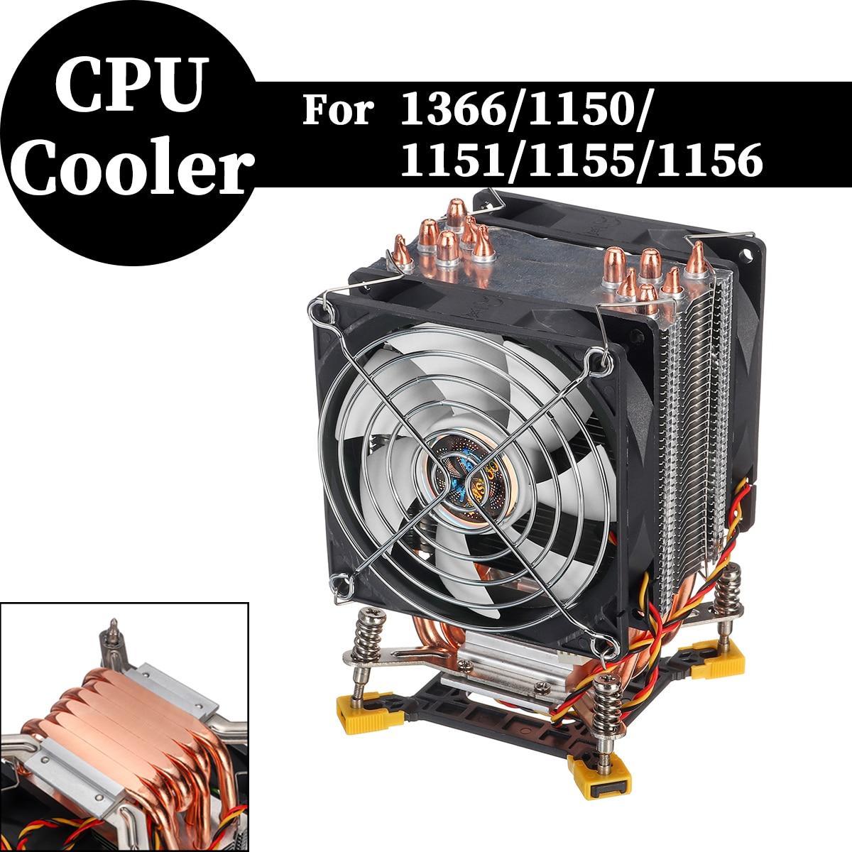 Disipador de calor de 90mm, 6 tuberías de calor de cobre, disipador de calor de CPU, ventiladores silenciosos, disipador de calor de refrigeración para Intel 1366/1155 con red de hierro