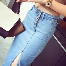 Feminino sólido fivela elástica saco hip fina fenda garfo denim midi saia jupe en jean femme