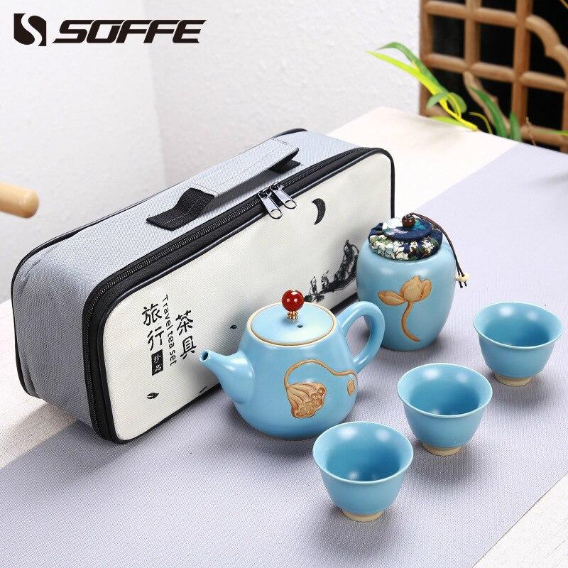 Juego de té chino portátil de cerámica de loto Soffe, 3 tazas de hueso de cerámica China Gaiwan Kong Fu set de Tetera con caja de escasez organizador de té