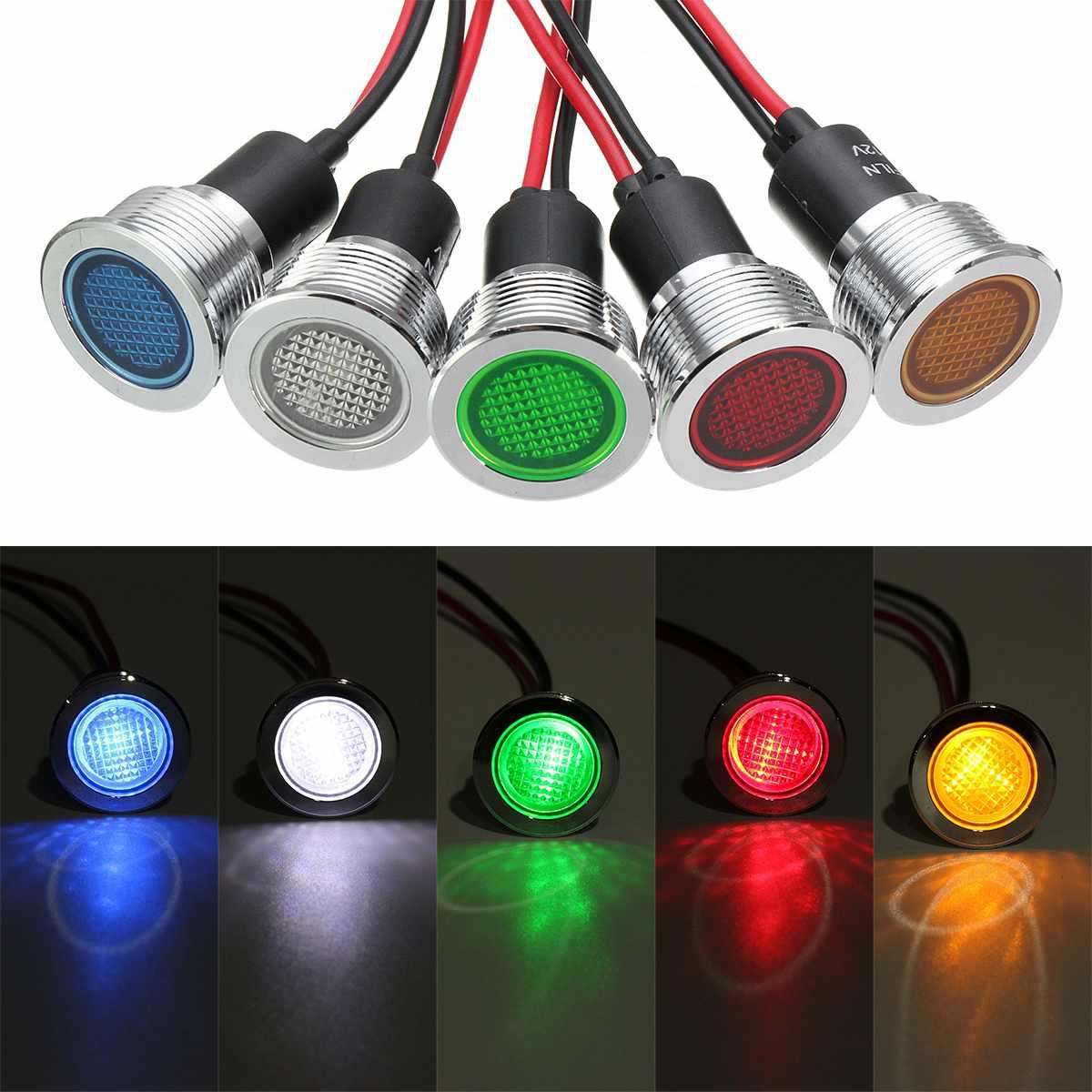19mm 12V LED Panel Dash luz indicadora advertencia luz coche barco señal lámpara rojo amarillo verde blanco azul 5 colores